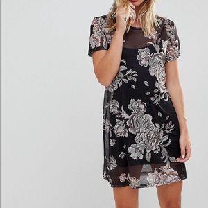 NWT • Eclectic Black & Blush Floral Mesh Dress